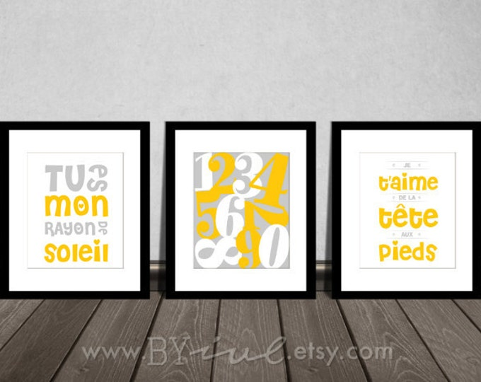 Nursery french quote printable, Set of three, Numbers art, Tu es mon rayon de soleil, Je t'aime de la tête aux pieds, DIY Printable.