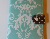 Kindle Paperwhite Cover Nook Simple Touch  Kobo Glo Nook Glowlight Kindle Voyage Damask in Aqua with gray dots Custom Order
