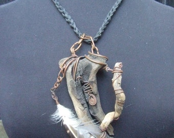 Hand Made Artisan Wood Branch & Feather Necklace c 1970s