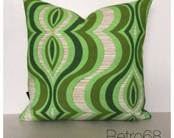 Retro Cushion Cover Original Vintage Green Psychedelic Fabric