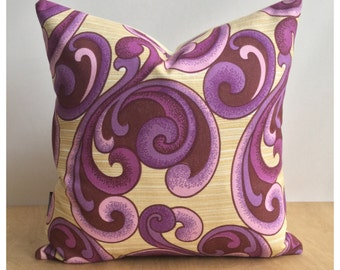 "Funky Original Vintage Purple Psychedelic Fabric Cushion Cover 16"" x 16"" Retro Throw Pillow"