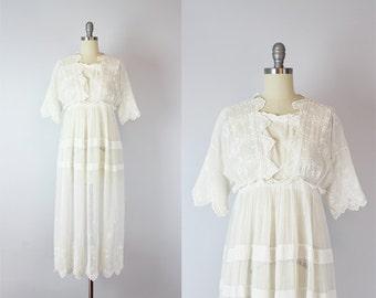 antique white cotton dress / 1910s lawn dress / Edwardian wedding dress / antique lace tea dress / Hartfield House dress