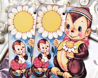 Monkey Gift Tags (6) Tags for Kids-Monkey Party-Monkey Baby Shower-Favor Tags-Birthday Gift Tags-Animal Party-Treat Tags-Vintage Toys Theme