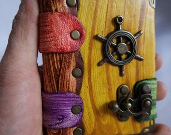 handmade extra mini leather journal / ship wheel pendant extra mini leather journal ,notebook ,sketchbook, diary &