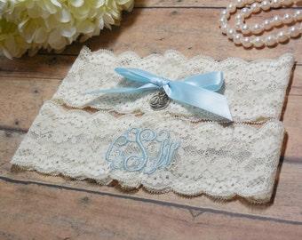 Monogrammed Garter, Monogram, Blue Garter, Something Blue, Garter, Personalized Garter, Custom Garter, Wedding, Bride, Bridal, Lace Garter