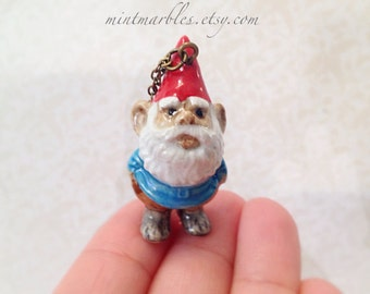 Traveling Garden Gnome with Red Hat Necklace. Miniature Cutie. Porcelain Pocket Friend. Brass Chain. Vintage Style. Gift. Adventures.