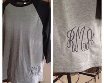 Monogrammed Baseball 3/4 sleeve T-Shirt - Monogram - Personalized Embroidered - Custom Initials - Fancy Script
