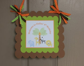 Jungle Birthday Welcome Sign - Safari Welcome Sign - Jungle Door Sign - Safari Door Sign