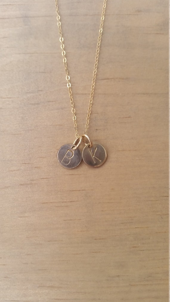 Initial necklace, two charm, gold fill, hand stamped, personalized, celebrity inspired