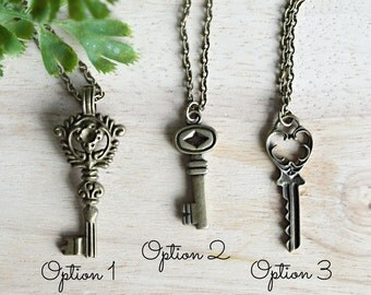 Skeleton Key Necklace Antique Key Jewelry Antique Bronze Necklace Long Layering Necklace V122