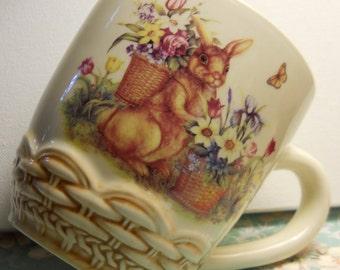 Floral Rabbit Cup, Easter Bunny Cup, Rabbit Mug, Cracker Barrel Cup, From Glen To Glen