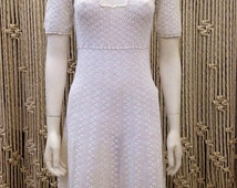 Beautiful 1930's crochet white dress with sweet floral detail