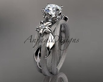 """Platinum diamond floral, leaf and vine wedding ring, engagement ring with a  """"Forever One"""" Moissanite center stone ADLR253"""