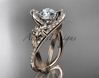 """14k rose gold leaf and flower diamond unique engagement ring, wedding ring with a """"Forever One"""" Moissanite center stone ADLR369"""