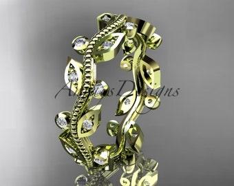 14kt yellow diamond leaf and vine wedding ring,engagement ring,wedding band ADLR1B