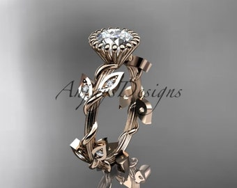 14kt rose gold diamond leaf and vine wedding ring,engagement ring ADLR20A
