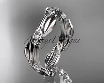14k white gold diamond leaf and vine wedding ring,engagement ring ADLR31B