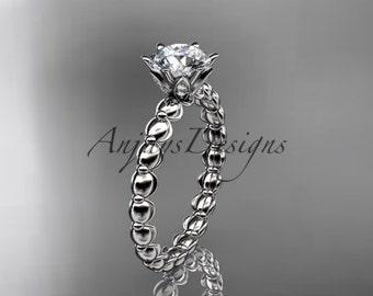 14k white gold diamond vine and leaf wedding ring, engagement ring ADLR34