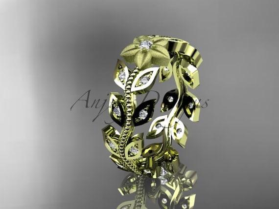 14kt yellow gold diamond flower leaf and vine wedding