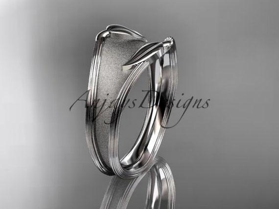14kt white gold leaf and vine wedding ring, engagement ring, wedding band ADLR60B