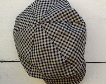 baby Newsboy hat , Tan and Black gingham newspaper boy hat, brown color  boy hat, beret for boys, vintage newsboy hat for boys