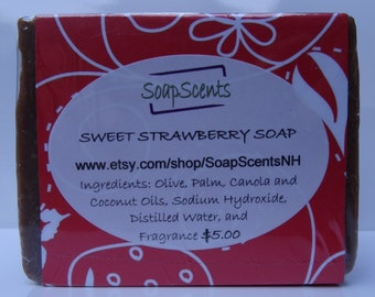 Sweet Strawberry Handmade Cold Process Soap - Made in NH