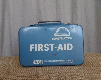 1960s Fully Packed Construction First Aid Kit Metal Vintage Box