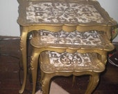 Set of 3 Florentine Nesting Tables, Hollywood Regency, Rocco, French, French Country