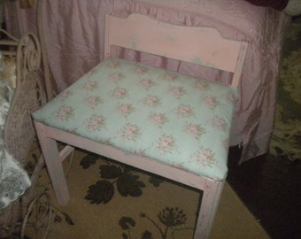 SALE....Oh So Shabby and Charming Up cycled Pink and Aqua Bench, French Country, Baby's Room