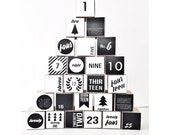 Modern Black and White Advent Calendar Set of 25 Paper Boxes