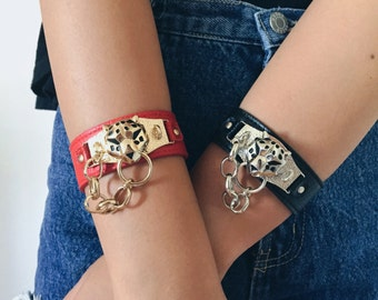 Popular Jewelry, Cute Bracelet Cuff tiger Bracelet, leather wrap bracelet, Best Selling Jewelry, Trending Items - By PiYOYO