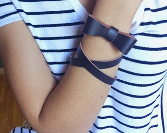Popular Jewelry, leather Bow Bracelet, most sold item, Leather Bracelet Wrap, black Brown Bracelet, trending now, By PiYOYOl
