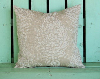 new 16x16 tan oatmeal white Manchester  Premier  print- decorative pillow cover-accent pillow-gifts under 40-throw pillow