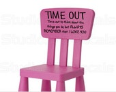 Time Out Chair Vinyl Decal - Toddler Naughty Chair Sticker - Toddler Time Out - Nursery Wall Decals - Childrens - 12x6