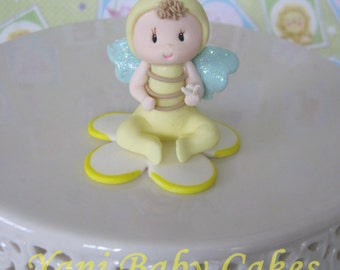 Cold Porcelain Bumble Bee Cake Topper Baby Shower Birthday Handmade Decoration
