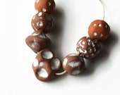 Textured terracotta beads, Ceramic Beads,  Boho Beads, Clay beads from Africa, Handmade African Beads