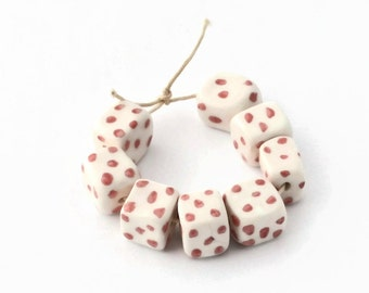 White and pink dotty ceramic beads, handmade beads, African beads, beads made in South Africa, 8 beads