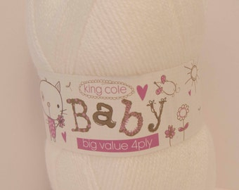 4 Ply King Cole Baby Knitting Wool Shade 1 Colour White 100g Ball - UK Shop