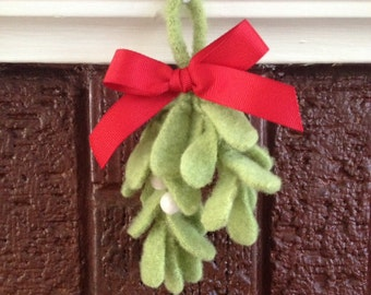 Felted Mistletoe Sprig with Red Grosgrain Ribbon and Wool Berries - Upcycled