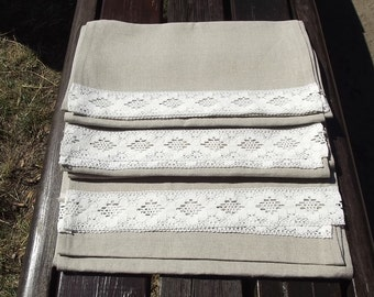 Lovely Natural Linen Table Runner with Vintage Handmade Lace.