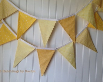 YELLOW FABRIC GARLAND -- pennant fabric flag banner -- birthday fabric bunting -- summer pennant garland -- shower party bunting -- 9 feet