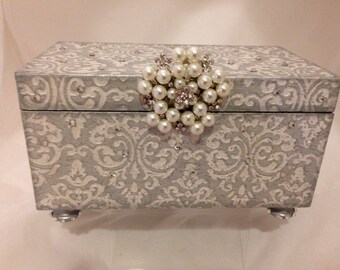 Silver & White Damask Decorative Box