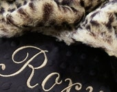 Dog Blanket Plush Brown Leopard with Brown Dot Minky Back Personalization included