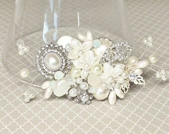 Bridal Hair Comb-Wedding Hairpiece-Pearl Bridal Comb-Wedding Hair Accessories-Bridal Hair Accessories Off white Hairpiece- Ivory Bridal Comb