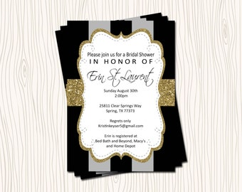 Silver or Gold Glitter Black Grey Stripe Baby Wedding Bridal Shower Party Invitation Card or Thank you Note - Any Color