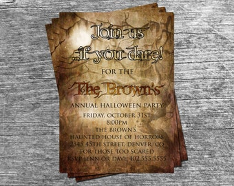 Spooky Adult Halloween Party or  Birthday Party Invitation Card - Any Color