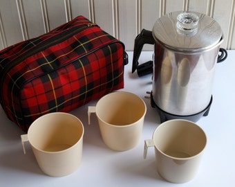 Electric Coffee Percolator Tea Pot and Cups with Scottish Tartan Plaid Carrying Case