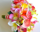 Coral Reef- Real Touch Plumeria Beach Bridal Bouquet in Coral, Hot Pink, Yellow and Lime-  Design # 102