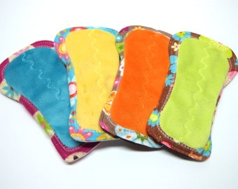 "6"" OBV or Minky and Cotton or Flannel Shorty Reusable Pantyliners - Set of 4 - Customize Your Set - PUL and Flannel or WindPro Back"