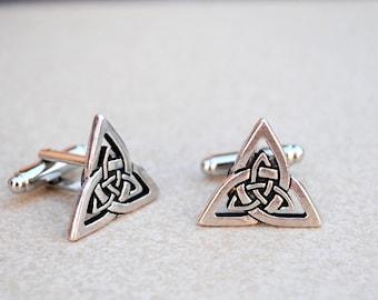 Cufflinks Trinity knot Celtic Triangle Triquerta antique silver finish men's jewelry wedding accessories